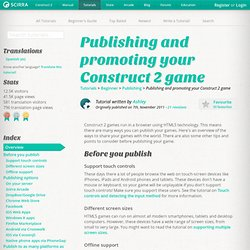 Publishing and promoting your Construct 2 game