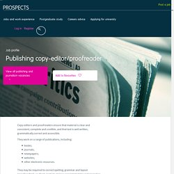 Publishing copy-editor/proofreader job profile