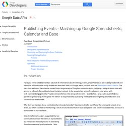 Publishing Events - Mashing up Google Spreadsheets, Calendar and Base - Google Data Protocol - Google Code
