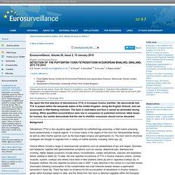 EUROSURVEILLANCE 15/01/15 Detection of the pufferfish toxin tetrodotoxin in European bivalves, England, 2013 to 2014.