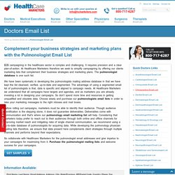 Pulmonologist Email List, Mailing Addresses and Database from Healthcare Marketers