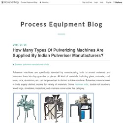 How Many Types Of Pulverizing Machines Are Supplied By Indian Pulveriser Manufacturers? - Process Equipment Blog