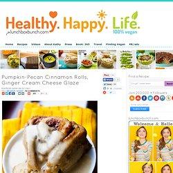 Vegan Pumpkin Pecan Cinnamon Rolls, Ginger Cream Cheese Glaze