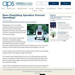 Does Punishing Speeders Prevent Speeding? – Association for Psychological Science – APS