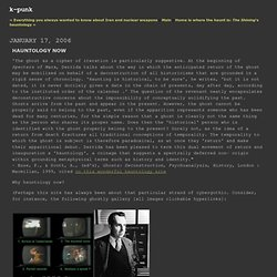 k-punk: Hauntology Now