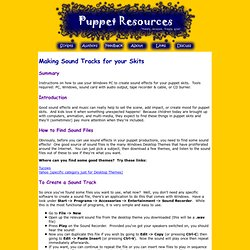 Free Puppet Scripts and Resources: Making Sound Tracks