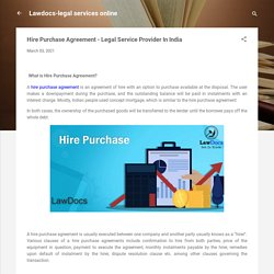 Hire Purchase Agreement - Legal Service Provider In India