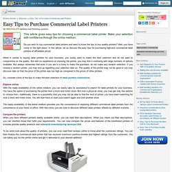 Easy Tips to Purchase Commercial Label Printers