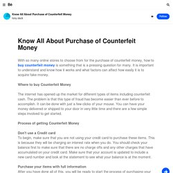 Know All About Purchase of Counterfeit Money