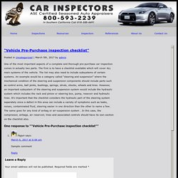 "» ""Vehicle Pre-Purchase inspection checklist"""