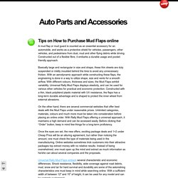 Tips on How to Purchase Mud Flaps online - Auto Parts and Accessories
