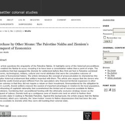 Purchase by Other Means: The Palestine Nakba and Zionism's Conquest of Economics | Wolfe | settler colonial studies