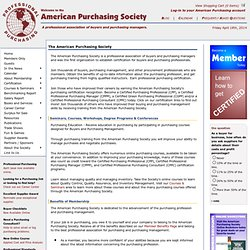 American Purchasing Society - Purchasing Management, Purchasing Courses, Purchasing Certification