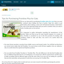 Tips for Purchasing Frontline Plus for Cats