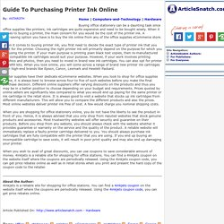 Guide To Purchasing Printer Ink Online
