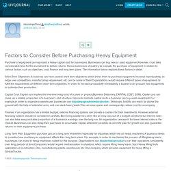 Factors to Consider Before Purchasing Heavy Equipment: stephenjadhav