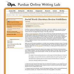Social Work Literature Review Guidelines