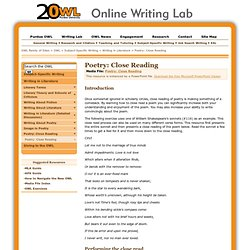 Poetry: Close Reading