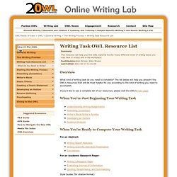 Writing Task Resource List