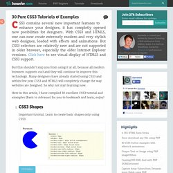 30 Pure CSS3 Tutorials & Examples
