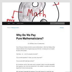 Why Do We Pay Pure Mathematicians?