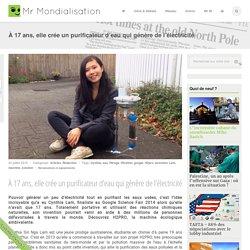 À 17 ans, elle crée un purificateur d'eau qui génère de l'électricité