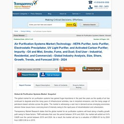 Air Purification Systems Market will exhibit an 8.4% CAGR by 2024 - TMR
