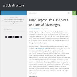 Huge Purpose Of SEO Services And Lots Of Advantages