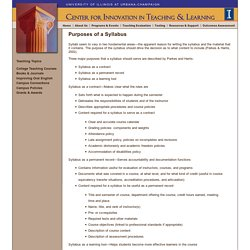 Purposes of a Syllabus, Center for Innovation in Teaching and Learning, University of Illinois