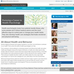 APA: Pursuing a Career in Health Psychology