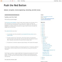 Push the Red Button: SysKey and the SAM