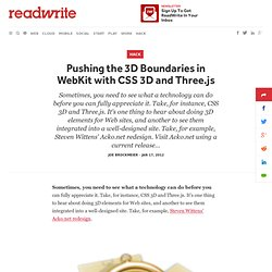 Pushing the 3D Boundaries in WebKit with CSS 3D and Three.js