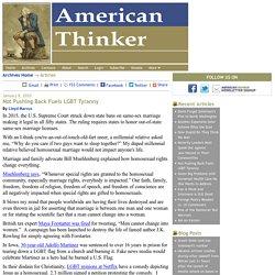 Not Pushing Back Fuels LGBT Tyranny - American Thinker