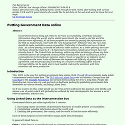 Putting Government Data online - Design Issues