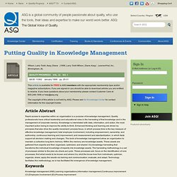 Putting Quality in Knowledge Management