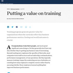 Putting a value on training