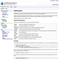 pyfilesystem - File system abstraction for Python