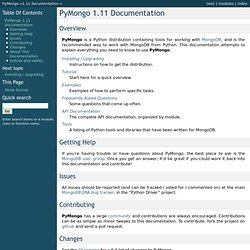 PyMongo 1.11 Documentation — PyMongo v1.11 documentation