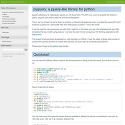 pyquery: a jquery-like library for python — pyquery 1.2.4 documentation