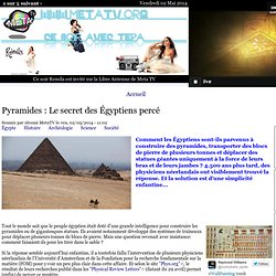 Pyramides : Le secret des Égyptiens percé