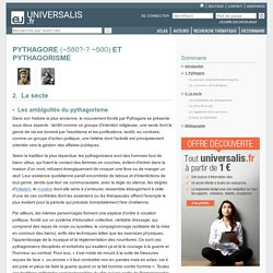 PYTHAGORE ET PYTHAGORISME, La secte