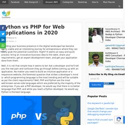 Python vs PHP for Web Applications in 2020 - W3lessons