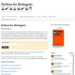 Introduction to Python for biologists