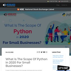 Scope of Python in 2020 for Small Businesses