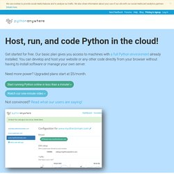 Python Programming in your Browser: PythonAnywhere