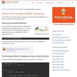 Python - Connecting to MySQL Databases