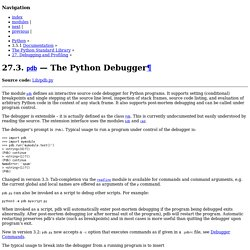 27.3. pdb — The Python Debugger — Python 3.5.1 documentation