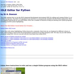 Python's IDLE editor: How to Use - by Dr A. Dawson