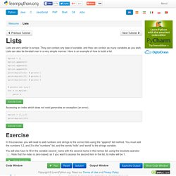 Lists - Learn Python - Free Interactive Python Tutorial