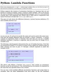 Python: Lambda Functions
